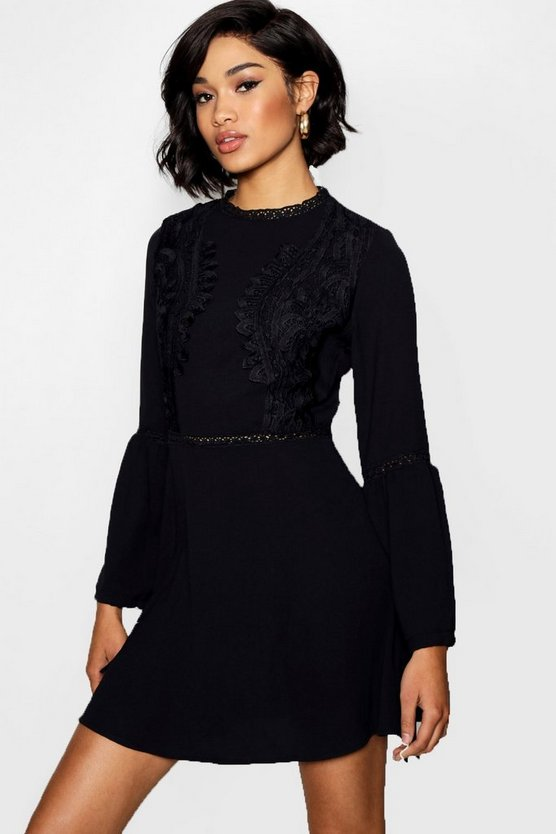 Womens Black Lace Insert Bohemian Skater Dress