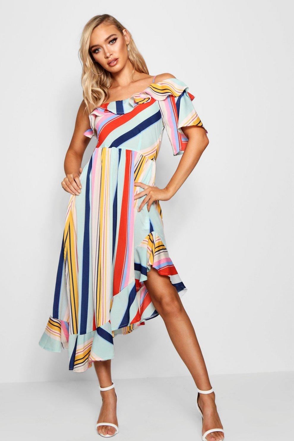 9ec2c72686b83 Asymmetric Bold Stripe Ruffle Hem Midi Dress | Boohoo