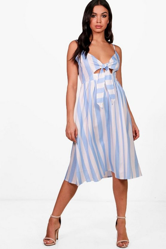Bow Front Striped Skater Dress