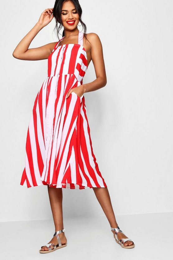 Halterneck Striped Midi Dress, Red, Donna