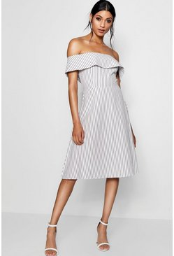 Womens Grey Off The Shoulder Woven Stripe Skater Dress