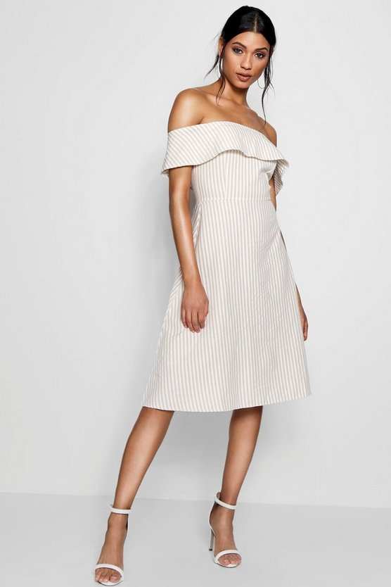 Womens Stone Off The Shoulder Woven Stripe Skater Dress