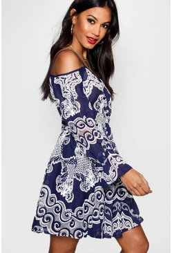 Womens Navy Crochet Off The Shoulder Skater Dress