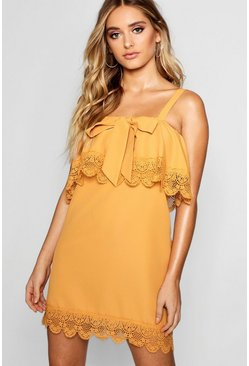 Womens Desert yellow Layered Square Neck Lace Shift Dress