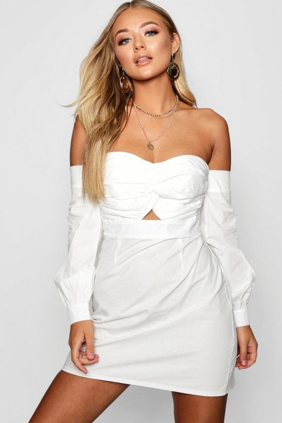 Knot Front Off The Shoulder Shift Dress