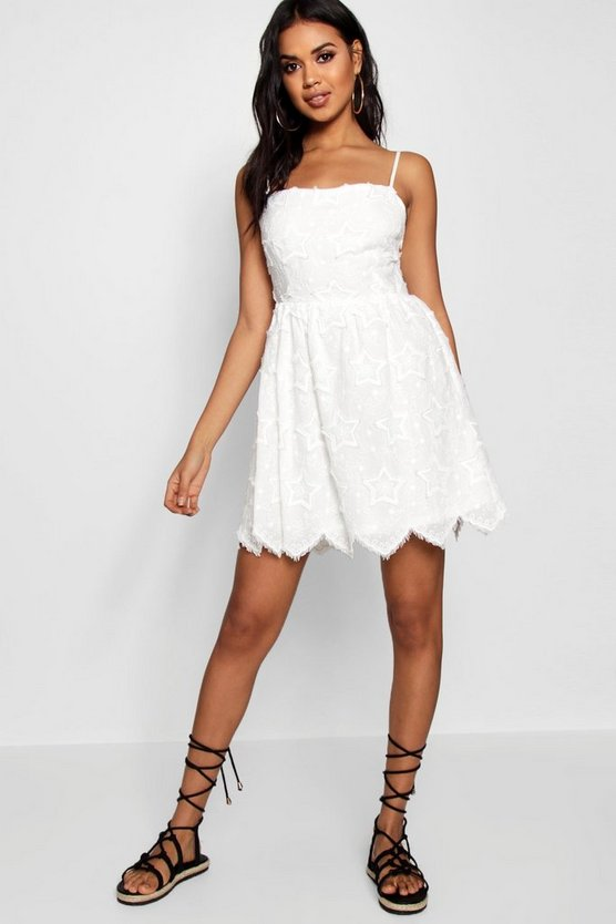 Star Embroidered Tie Strap Shift Dress