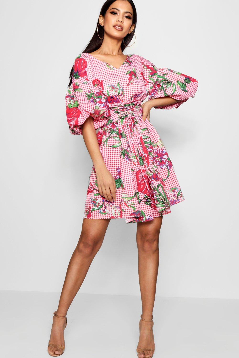 Boohoo Vende bien Lace Up Front Volume Sleeve Skater Dress Boohoo - Mujer Ropa Comprar IMWGIRR