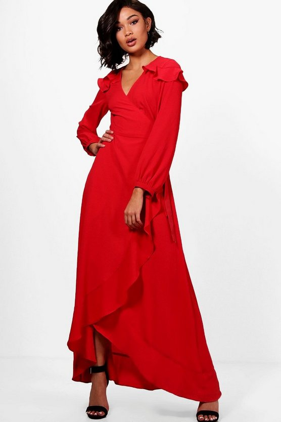 Ruffle Shoulder Wrap Maxi Dress