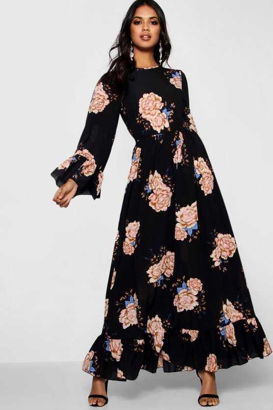 Ruffle Hem Flared Sleeve Maxi Dress