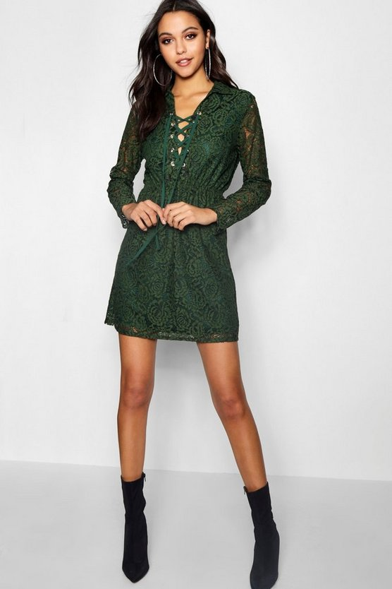 Lo Lace Up Front Corded Lace Shirt Dress