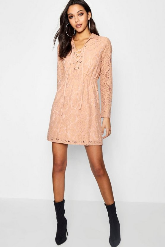 Womens Nude Lo Lace Up Front Corded Lace Shirt Dress