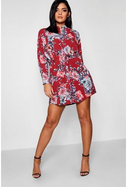 Womens Berry Luxe Fabric Floral Tie Waist Shirt Dress