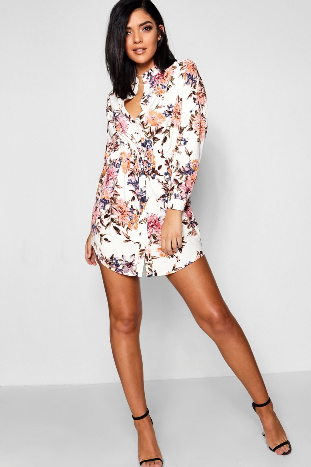 16e5dabcdf70c Luxe Fabric Floral Tie Waist Shirt Dress