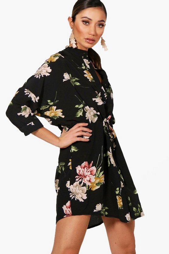 Dara Luxe Fabric Floral Tie Waist Shirt Dress