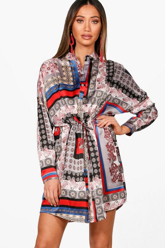 Scarf Print Tie Waist Shirt Dress