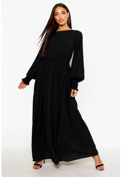 Shirred Waist & Cuff Woven Maxi Dress, Black