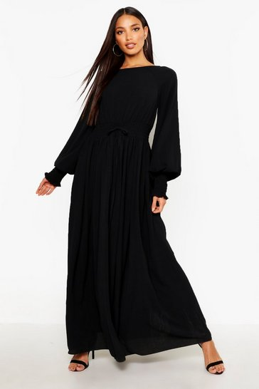 Black Shirred Waist & Cuff Woven Maxi Dress