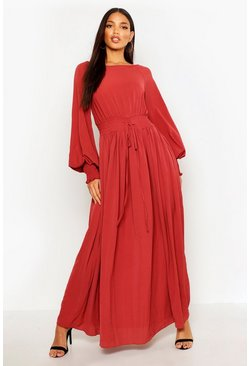 Womens Brick Shirred Waist & Cuff Woven Maxi Dress