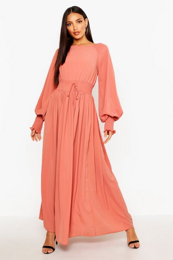 Womens Rose Shirred Waist & Cuff Woven Maxi Dress