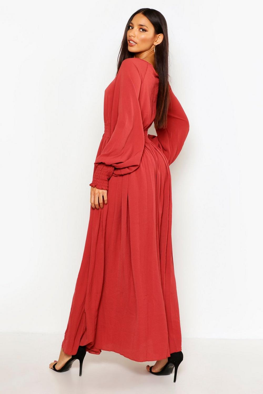 Boohoo Shirred Waist & Cuff Woven Maxi Dress Outlet Store Cheap Price dQUM3VVBOB