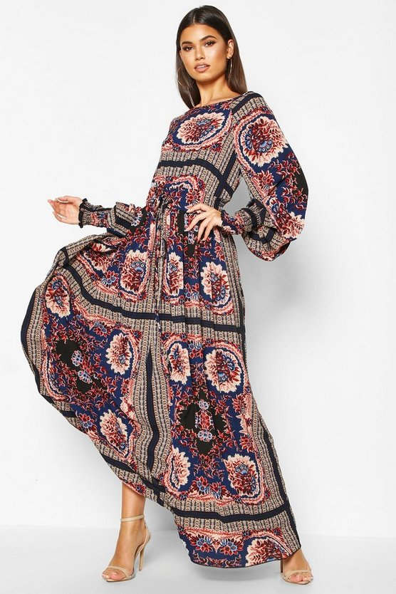 Shirred Waist Scarf Print Maxi Dress