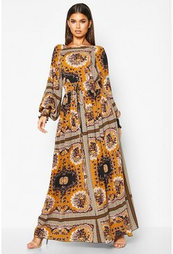 Womens Desert sand Shirred Waist Scarf Print Maxi Dress