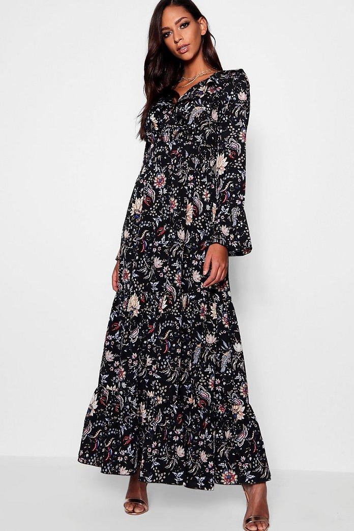 fb5644ddd3 Ruffle Front Tiered Maxi Dress