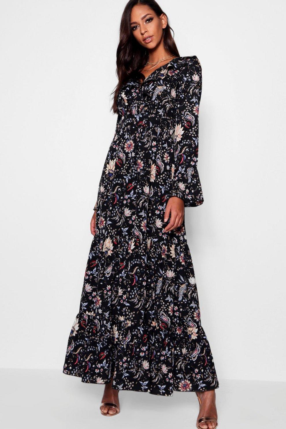 021553e20b01 Ruffle Front Tiered Maxi Dress | Boohoo