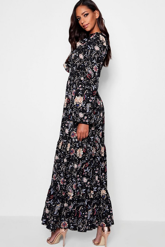 8076842545 ... Ruffle Front Tiered Maxi Dress ...
