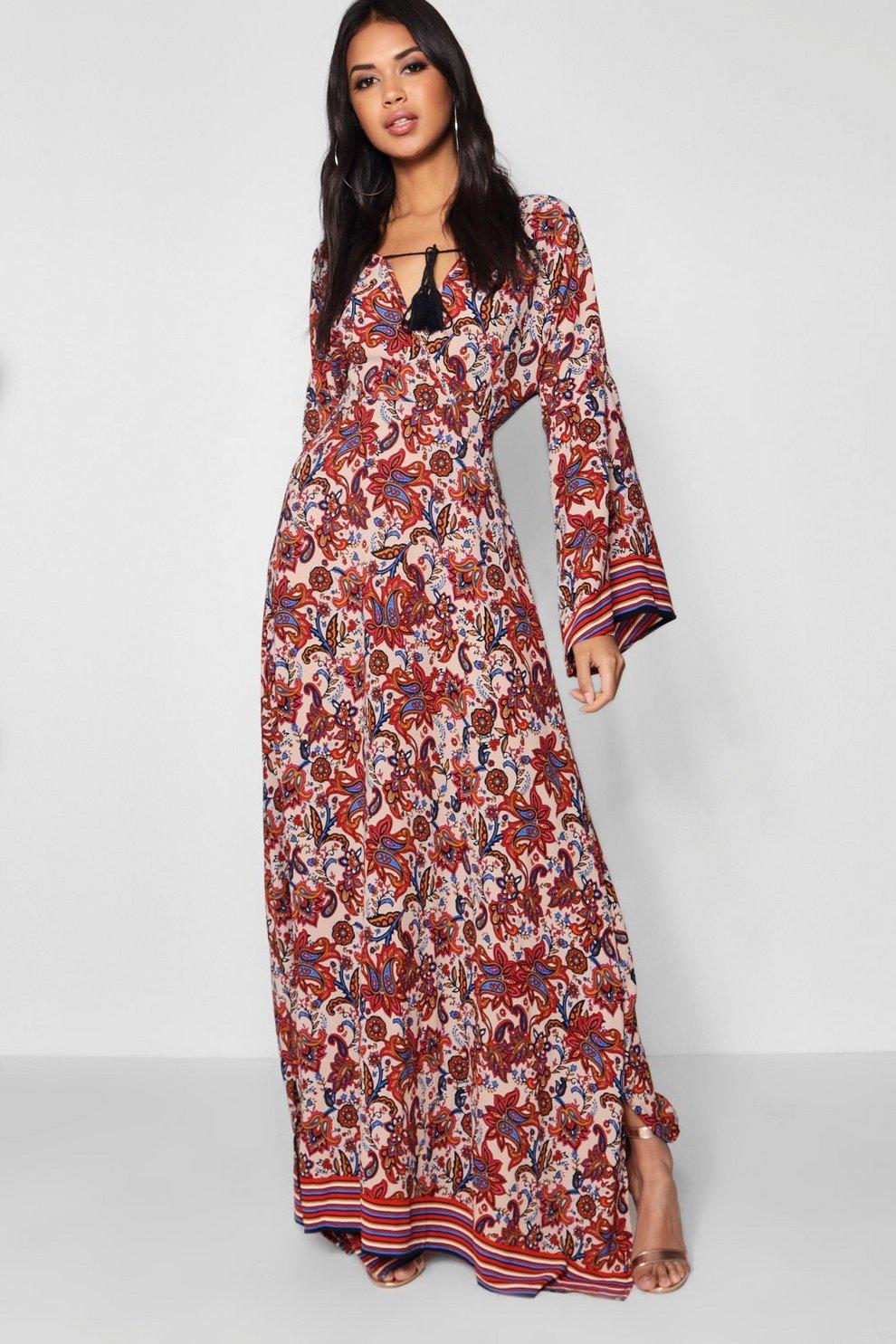 3a768ccc1919 Rosie Flute Sleeve Tassel Trim Maxi Dress