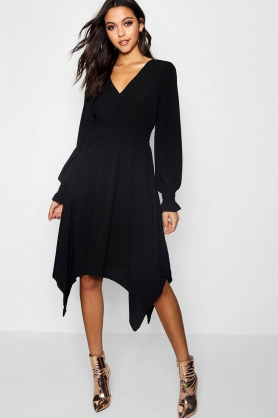 Shirred Waist Hanky Hem Midi Dress