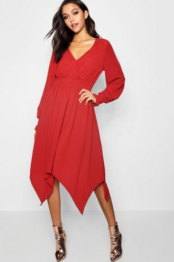 Womens Shirred Waist Hanky Hem Midi Dress