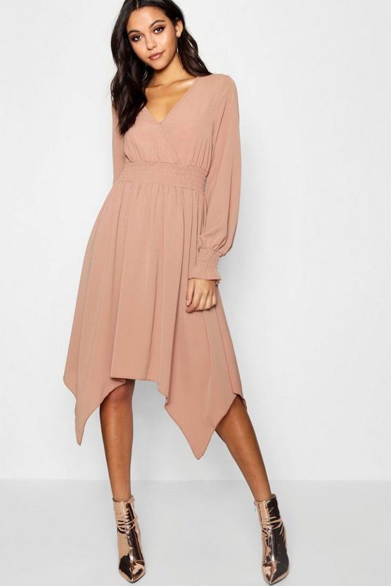 Taupe Shirred Waist Hanky Hem Midi Dress