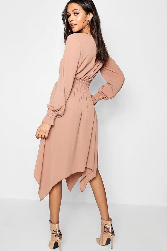 Shirred Waist Hanky Hem Midi Dress | boohoo