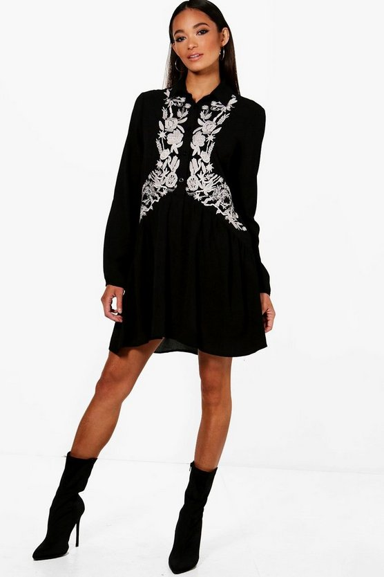 Womens Black Embroidered Drop Hem Shirt Dress