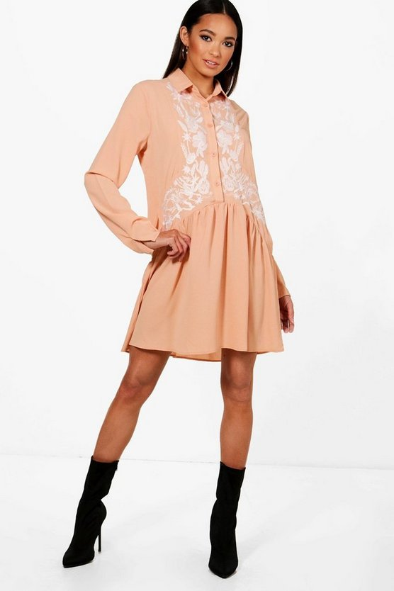 Embroidered Drop Hem Shirt Dress