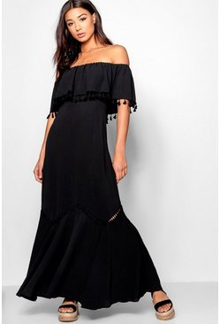 Womens Black Off The Shoulder Tassel Trim Maxi Dress