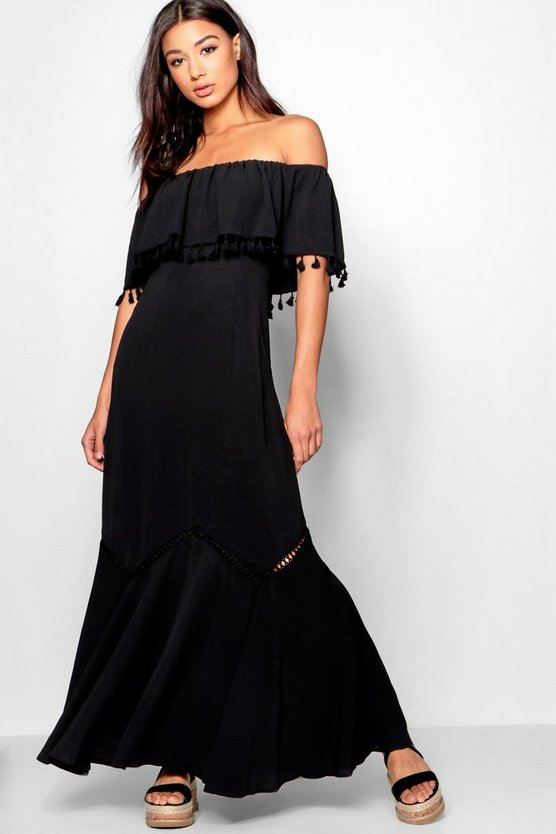Off The Shoulder Tassel Trim Maxi Dress, Black, FEMMES