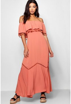 Rose Off The Shoulder Tassel Trim Maxi Dress
