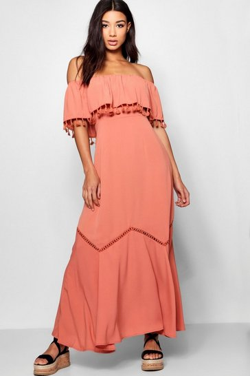 Womens Rose Off The Shoulder Tassel Trim Maxi Dress