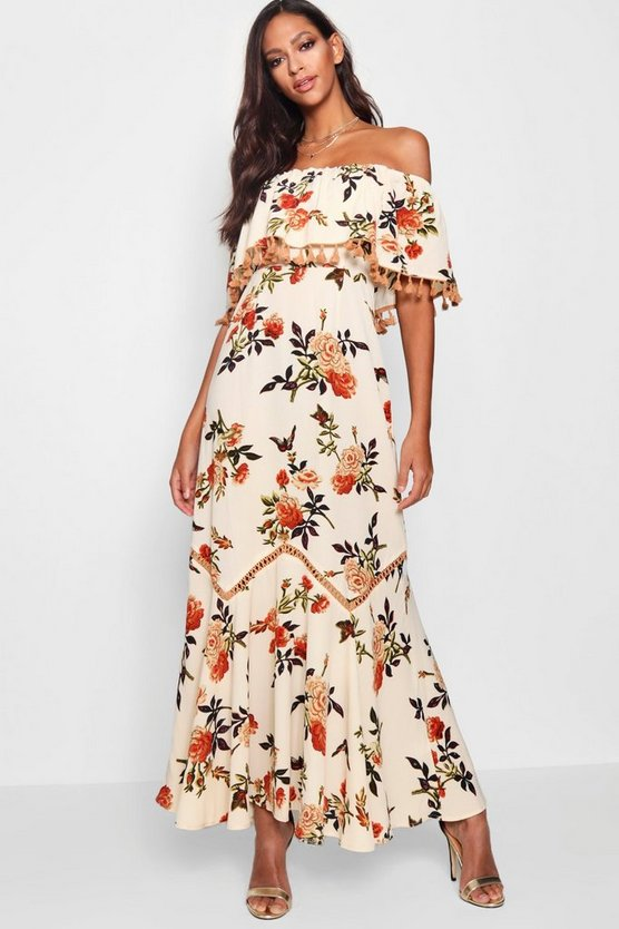 Floral Off The Shoulder Tassel Trim Maxi Dress