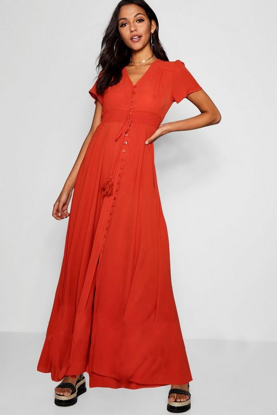 Shirred Waist Button Front Maxi Dress