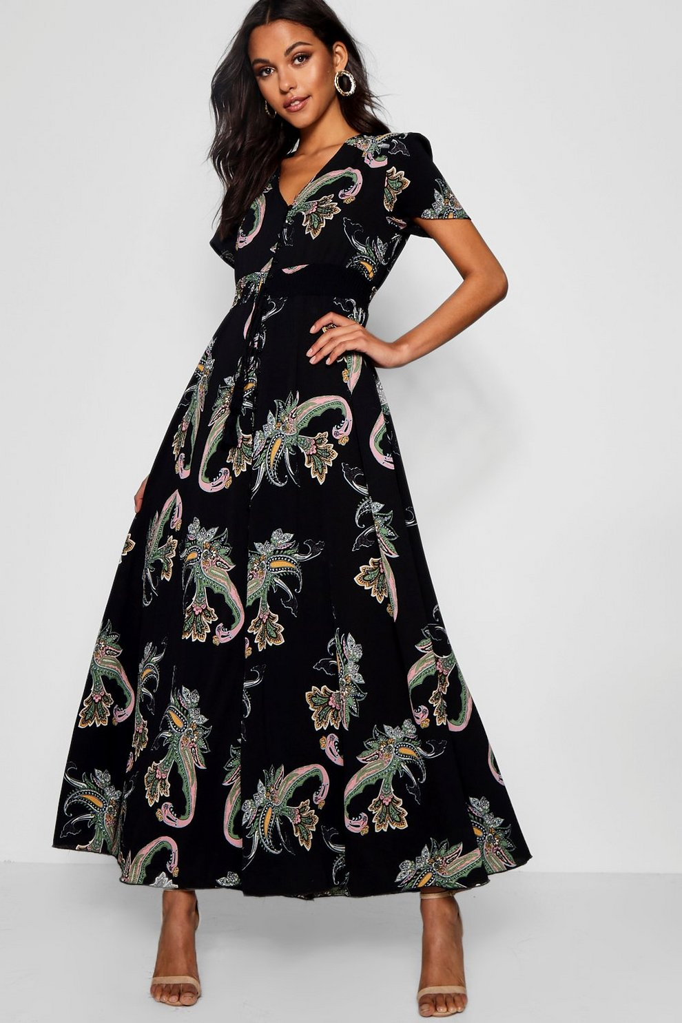 Paisley Print Shirred Waist Maxi Dress  2b1babb15