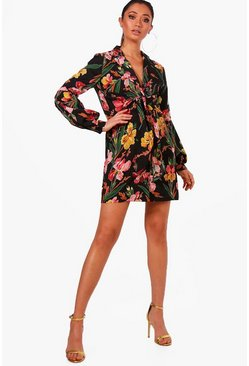 Womens Tie Front Tropical Floral Shirt Dress