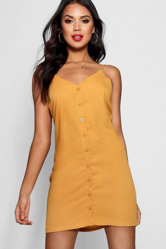 Womens Mustard Button Front Woven Shift Dress