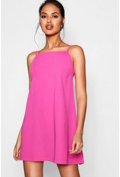 Womens Hot pink Square Neck Woven Shift Dress