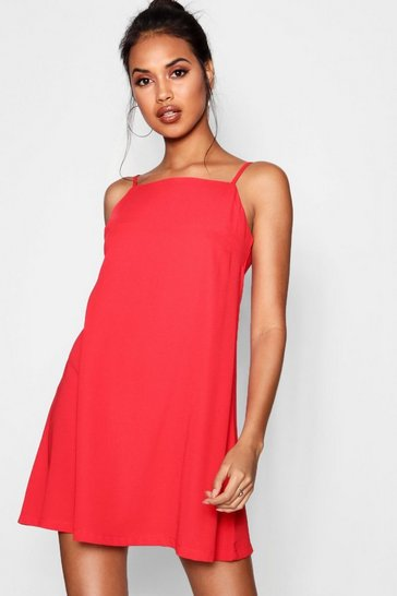Red Square Neck Woven Shift Dress