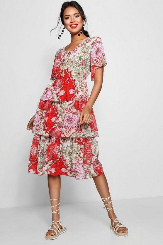 Layered Paisley Print Midi Dress, Red, FEMMES