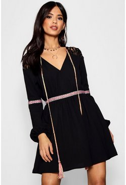 Womens Black Aztec Ribbon Trim Skater Dress