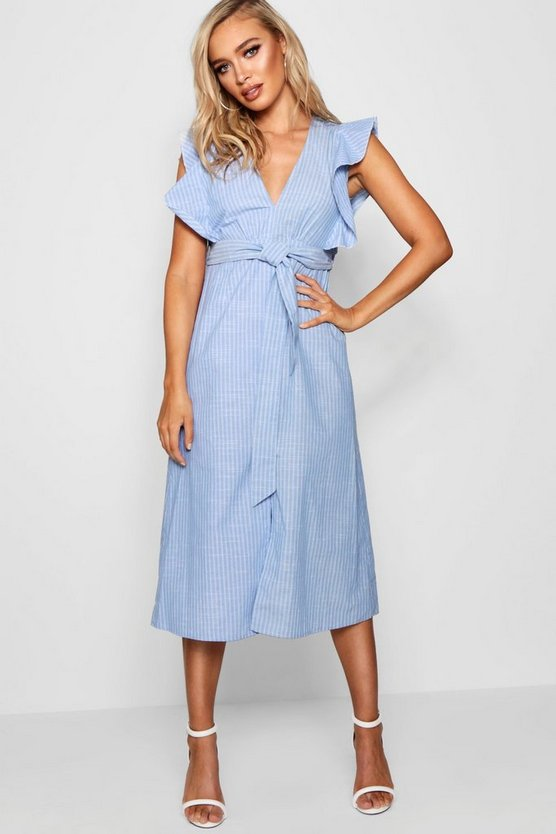 Womens Powder blue Ruffle Shoulder Stripe Skater Dress